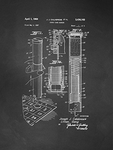 Framable Patent Art PAPSP104C The Original Poster Art Print Bingo Night Family Game 18in by 24in Patent, Chalkboard by Framable Patent Art