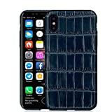 UU&T Upgrade Luxury Crocodile Belly Leather Case Lightweight Hardshell Back Case for iPhone X 5.8 Inch (Dark Blue)