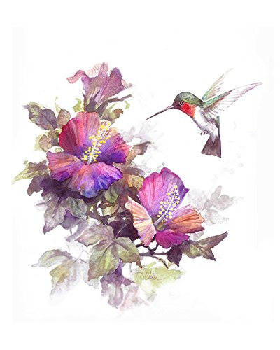 ets print of Watercolor Painting - Nature, Flowers, Birds, Peaceful Gifts, Gift for Ladies ()