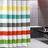 HOKEMP Fabric Shower Curtain, Waterproof and Mildew Resistant Polyester Bath Curtain with Hooks, Hotel Grade - 72'' X 72'', Colorful Stripes