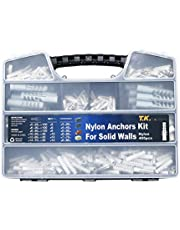 T.K.Excellent Plastic Drywall Ribbed Anchors Solid Materials Drywall Anchor Assortment Kit,405 Pcs
