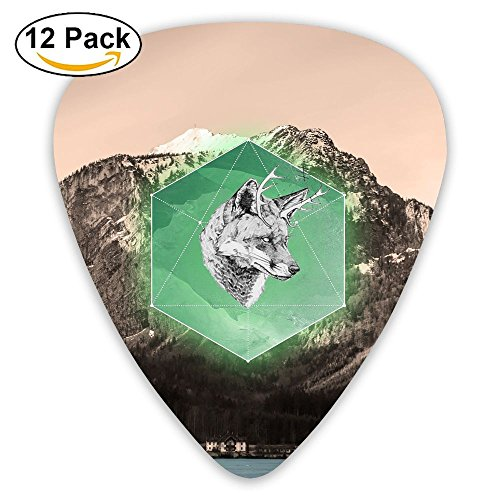 12-pack Fashion Classic Electric Guitar Picks Plectrums Wolf Mountain Scenery Background Instrument Standard Bass Guitarist]()