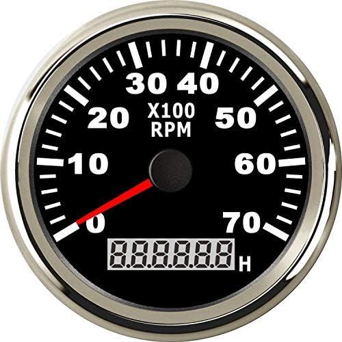 Eling Universeller Drehzahlmesser Drehzahlmesser Mit Stundenzähler 7000 U Min 85 Mm 9 32 V Mit Hintergrundbeleuchtung Auto