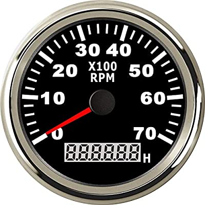 ELING Waterproof Tachometer REV Counter RPM Gauge With Hour Meter 0-6000RPM 85mm 9-32V With Backlight