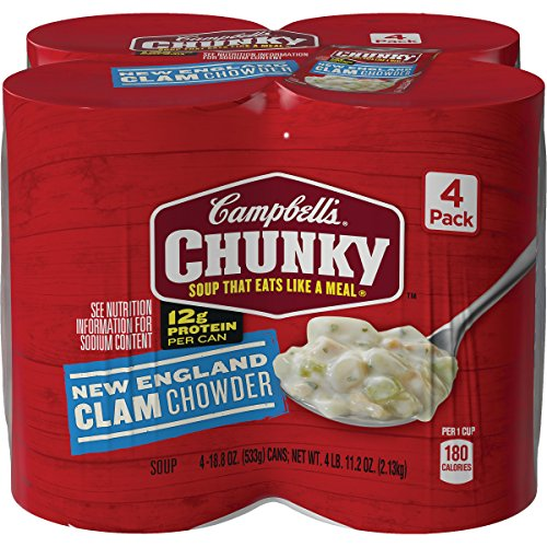 New England Clam Chowder - Campbell's Chunky New England Clam Chowder, 18.6 oz. Can, 4 Count (Pack of 2)