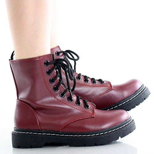 Marco Republic Navigator Womens Military Combat Boots - (Wine) - 9 (Red Women Boots)