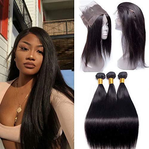 Maxine 9A Peruvian Virgin Hair Straight Wave Hair 3Bundles with 360 Lace Frontal Closure 22.5x4x2 Full Frontal Lace Closure Natural 1#b Color 16 Inch With 18 18 18