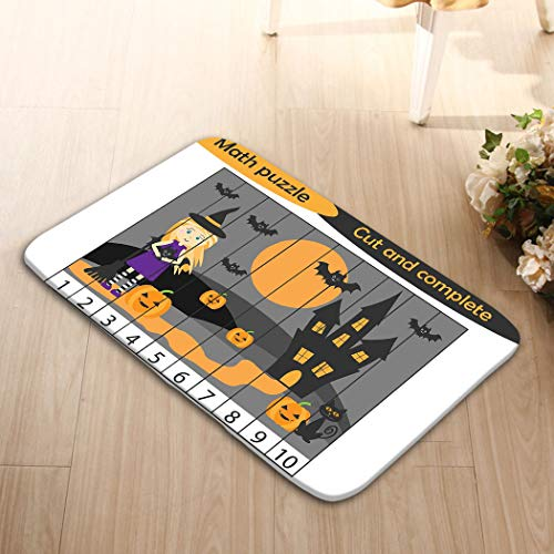 zexuandiy Carpet Print Doormat Living Room Bedroom Kitchen Bathroom Decorative Unique Lightweight Printed Rugs 24 W X 16 W Inches Math Puzzle Halloween Picture Witch Cartoon Style edu -