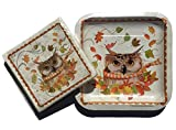 Bundle Set of 20 2-ply Paper Cocktail Beverage with 10 Dessert Plates, Woodland Animal Series ~ Owl