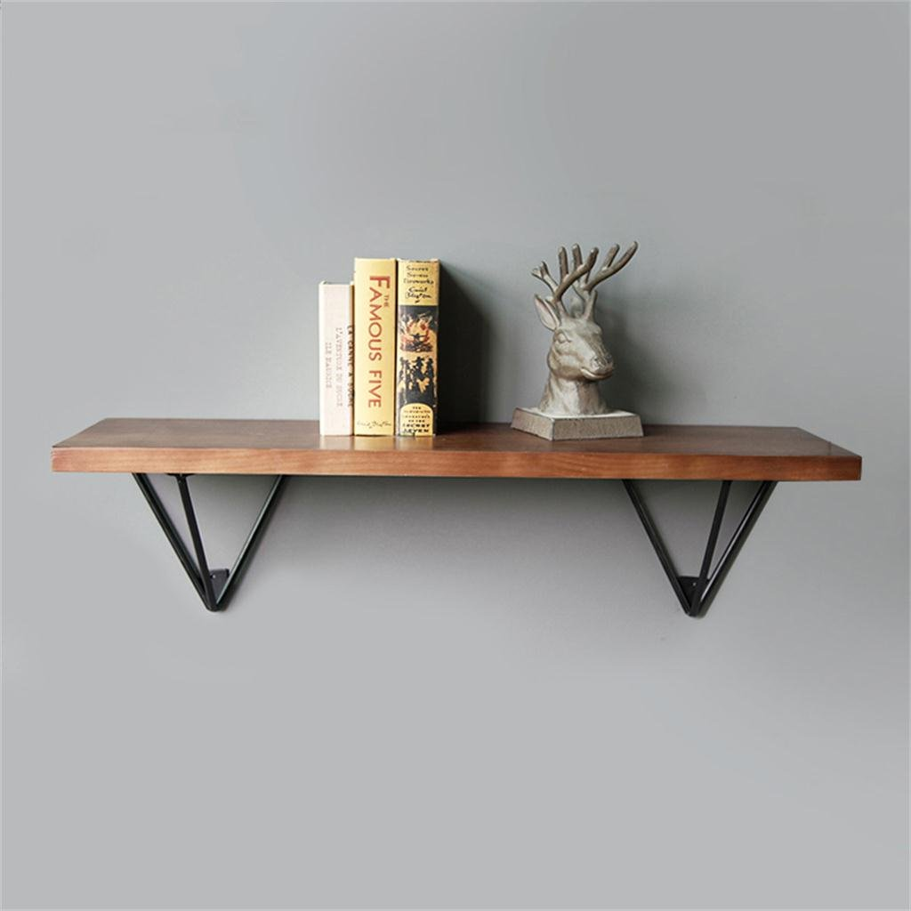 Floating Shelves-TRR TRRE@ LOFT Industrial Wind American style Retro Ironwork Solid Wood Shelf Wall book Shelf Shelf Accessories (Size : 60cm) TRRE UK