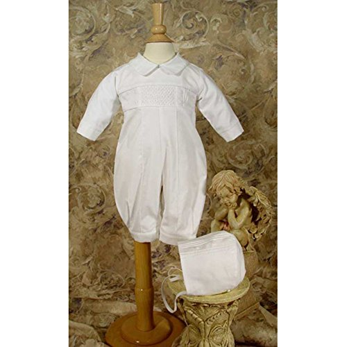 Hand Smocked Pin Tucked, Long Sleeve, Long Pant Christening Baptism Coverall