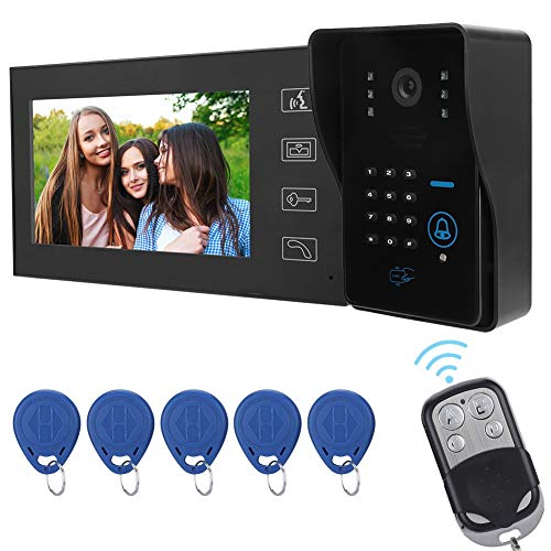 Wired Intercom Doorbell, 7inch Video Door Phone Home Intercom System Access Control Kit 5-10 Meters Wireless Unlocking and Waterproof Designed with Rain Cover & 5 User Cards(Black)