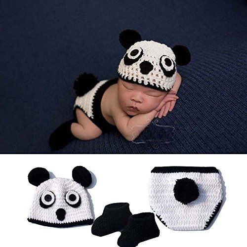 Osye Baby Crochet Knitted Outfit Panda Hat Costume Set Photography Photo Props, Black
