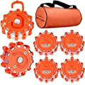 Tobfit 6 Pack LED Road Flares Emergency Lights Roadside Safety Beacon Disc Flashing Warning Flare Kit with Magnetic Base & Hook for Car Truck Boats | 9 Flash Modes (Batteries Not Included)