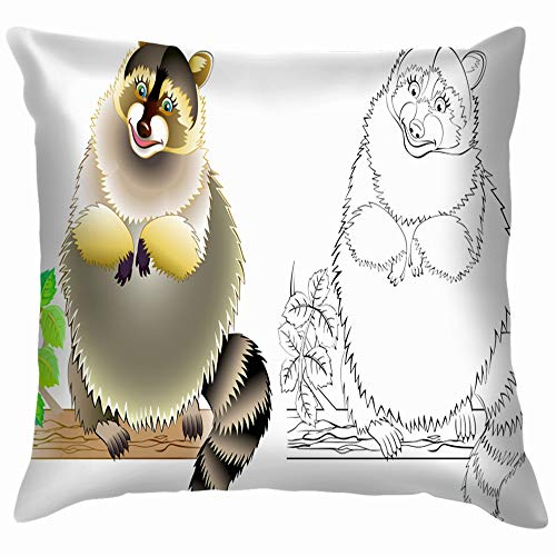 Colorful Black White Coloring Animals Wildlife Activity Throw Pillow Case Cushion Cover Pillowcase Watercolor for Couch 16X16 Inch -