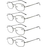 Eyekepper Metal Frame Spring Hinged Arms Reading Glasses Pack of 4 Pairs Gunmetal +2.0
