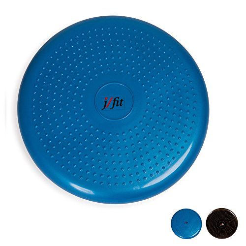 j/fit Inflatable Balance & Stability Disc: Large Yoga Wobble Cushion Trainer with Pump - Core Fitness & Workout Equipment Discs for Home - Office Chair, Ankle Strength Training & Dog or Pet Activity: Blue, 13-Inch -