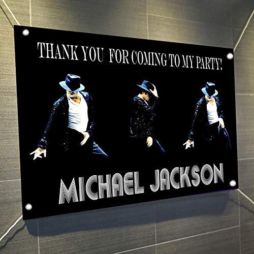 Michael Jackson Large Vinyl Indoor or Outdoor Banner Sign Poster Backdrop Decoration, Waterproof, 30