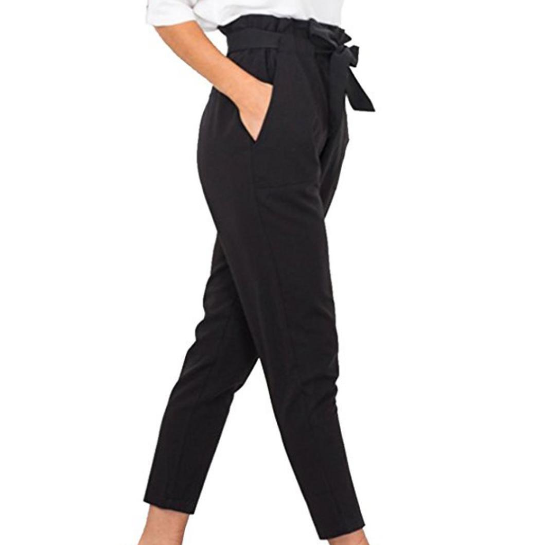 Yogogo Femme Pantalon Taille Haute Casual JambièRe Slim Crayon Jeggings Bowknot En Mousseline De Soie Stretch Hosen Streetwear DéContracté Legging Costumes Fitness Pour Yoga