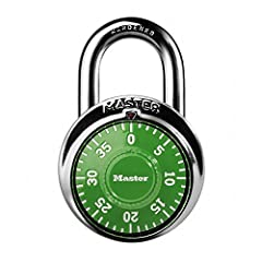 The Master Lock 1505D Locker Lock Combination Padlock features a 1-7/8in (48mm) wide metal body for durability, with a stainless steel cover. The 9/32in (7mm) diameter shackle is 3/4in (19mm) long and made of hardened steel, offering extra re...