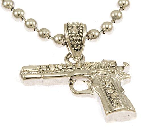 Hot New Silver Tone Gun 45 M1911 Pistol Mini Pave CZ Stones Pendant Necklace Free 30