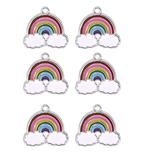 Rainbow Clouds Charms Pendants Jewelry Making Crafting Supplies Accessory for Bracelet Necklace Earring 10Pcs ()