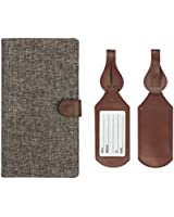 Travel Set: Vintage Tweed Fabric RFID Blocking Passport Case with Pen Holder + 2 Luggage Tags