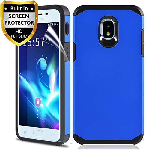 Phone Case for Samsung Galaxy J7 Refine/Galaxy J7 2018/J7 Star /J7 Aero/J7 V 2rd Gen/J7 Top/J7 Aura/J7 Crown/J7 Eon, with Screen Protector, Protective Armor Case Accessories, Blue