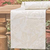 Mahogany Botanical Jacquard Fused Reversible Runner, 13 by 72-Inch, Beige