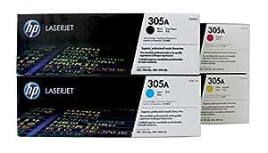 HP 305A - Juego de cartuchos de tóner para HP Laserjet Pro M451 y M475 (Ce410A negro, Ce411A cian, Ce412A amarillo, Ce413A magenta)