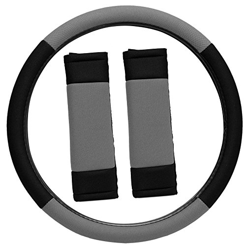 OxGord 3pc Set Flat Cloth Mesh Steering Wheel Cover Seat Belt Pads, Universal 15 Fits Most Car, SUV, Van Trucks - Gray Black