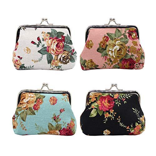 Floral Coin Purse - Small Coin Purse Wallet 4pc Cute Floral Exquisite Buckle Little Change Pouch Canvas Mini Cash Key Bag (Vintage Floral, One Size)