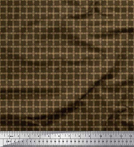 Cotton Shirting Fabric - Soimoi Brown Cotton Cambric Fabric Check Shirting Decor Fabric Printed BTY 56 Inch Wide