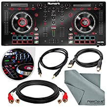 Numark Mixtrack Platinum DJ Controller with Jog Wheel Display and Assorted Cables Accessory Bundle