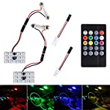 Car Led Panel Dome Lights Multicolored Automotive Interior Roof Ceiling Reading Lamp Bulbs with Wireless Remote Controller Sound Active and T10 Adapters (2Pack, DC 12V)