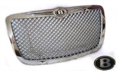 Chrome Mesh Bentley Grille (Chrysler 300/300C Chrome Mesh Bentley Grille With Bentley B Emblems)