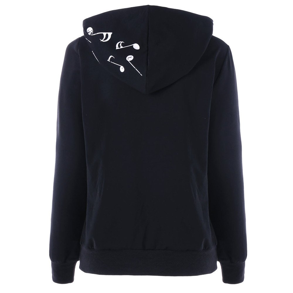 HYIRI Musical Note Print Sweatshirt, Womens Long Sleeve Hoodie Jumper Pullover Blouse at Amazon Womens Clothing store: