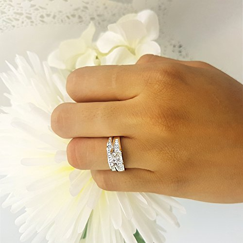 0.50 Carat (ctw) 10k White Gold Princess & Round Diamond Ladies Bridal Engagement Ring Set Matching Band 1/2 CT