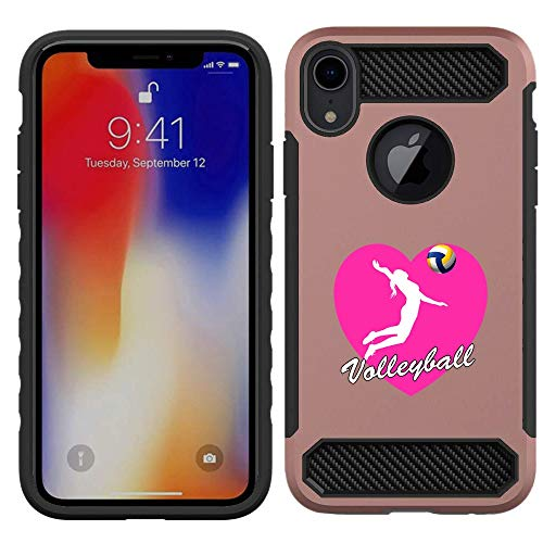 [NickyPrints]  iPhone XR Hybrid Case- Heart Volleyball Design Printed with Embossed Effect - Unique Dual Layer Full Protection Shockproof iPhone XR  Rose Gold Case / Cover