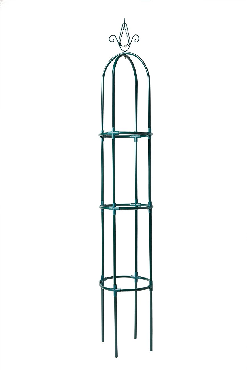Yarti Garden Trellis Obelisk Metal Trellis with Sturdy Anti-rust Plastic Kit Supporter Frame for Rose, Vines, Tomato and Vegetables 10.6-in Dia 63-in High, Green