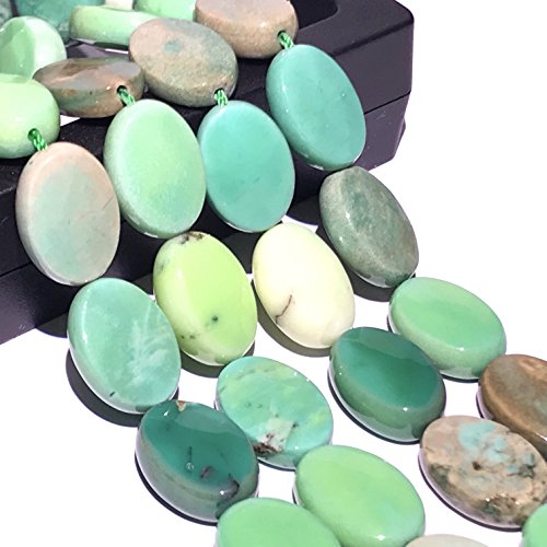 [ABCgems] Rare Australian Chrysoprase AKA Australian Jade (Beautiful Color- Exquisite Matrix) Tiny 8X12mm Faceted Oval Beads for Beading & Jewelry Making ()