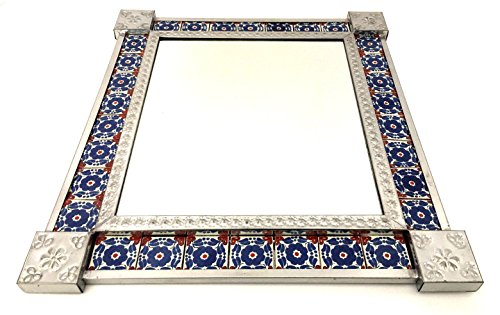 Tin & Ceramic Tile Decorative Mirrors, Hand Made in Mexico (Blue Flowers) (Flower Tin Mirror)