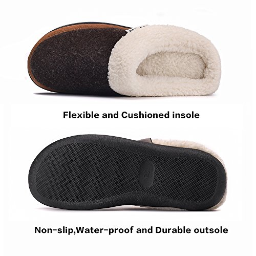 Memory Women's Fleece Foam with Lining Upper Felt Slipper House Coffee Plush wHrHqx7tf