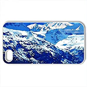 Natures blue - Case Cover for iPhone 4 and 4s (Mountains Series, Watercolor style, White)