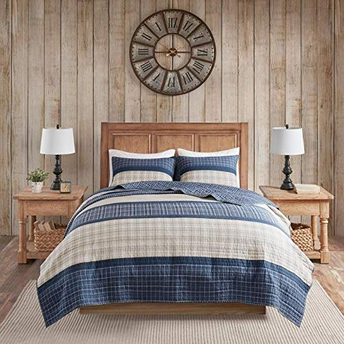 3 Piece Oversized Cabin Bar Details Plaid Quilt Set, Lodge Style Small Box Pattern Striped Design Blue Grey Cal King Bedding Set, Elegant Grey Borders Bold Bedroom Country Side Look Decor Soft Warmth