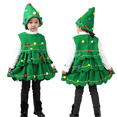 Kehen 2pcs Kid Girl Colorful Pom Pom Christmas Tree Shape Sleeveless Dress Vest Tops + Hat (6T, Green) - Make Christmas Tree Costume
