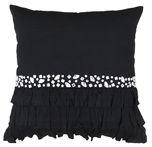 S4Sassy Decorative Black Handcrafted Cushion Cover Stone Beaded Pillow Case Throw - 26 x 26 Inches