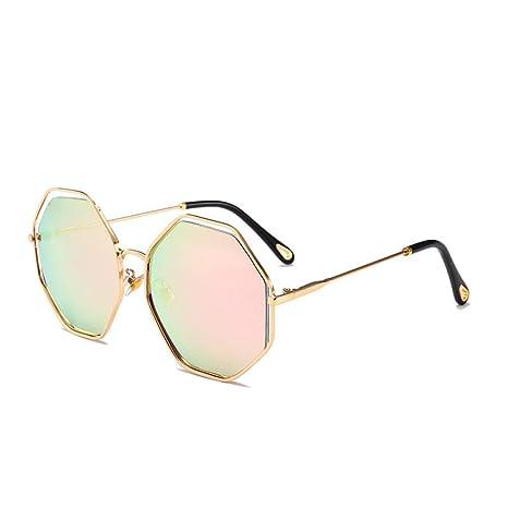 Yangjing-hl Gafas de Sol con Montura metálica Octagonal ...