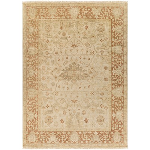 Surya Hillcrest HIL-9007 Classic Hand Knotted 100% New Zealand Wool Terra Cotta 8' x 11' Modern Vintage Area - Biscotti 811