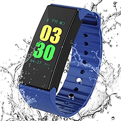 MOCRUX Fitness Tracker, Color Screen Smart Bracelet Activity Tracker with Heart Rate Monitor, IP67 Waterproof Smart Band with Sleep Monitor Calorie Counter Pedometer Sport Tracker